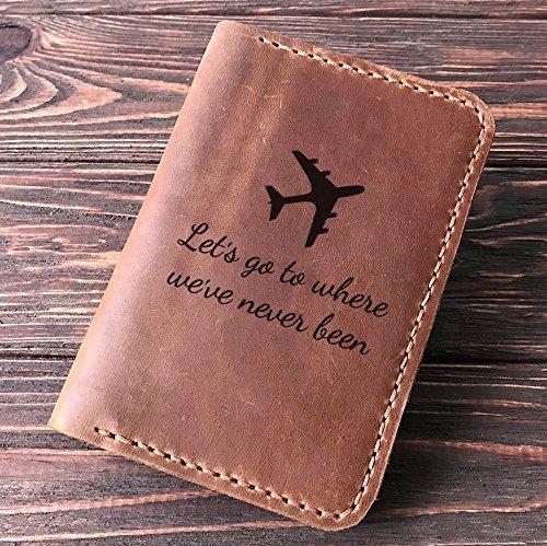 22b9198b115 Amazon.com  Quote Passport Cover. Plane Personalized Leather ...