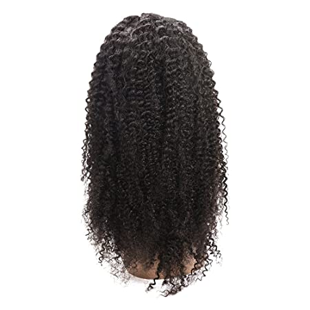 Amazon.com : 100% Hand-Tied Glueless Full Lace Human Hair Wigs for Black Women Kinky Curly Short Real Brazilian Remy Virgin Hair Peluca 130% Density 125g 12 ...