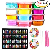DIY Fluffy Slime Kit – 12 Colors Crystal Slime with 48 Bottles Glitter Powder for Girls Boys Toys, 2 Fruit Slices and Tools Set for Kids Art Craft,Stress Relief Squeeze Toy for Aged 6+