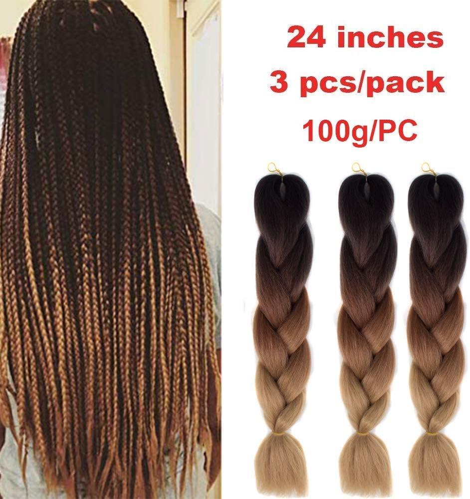 Kanekalon Xpressions - Extensiones de pelo trenzado Ombre 3 tonos de 60,96 cm, Showjarlly Ombre Jumbo trenzado de fibra de alta temperatura, 3 piezas/lote de 100 g/pieza, para trenzado de crochet