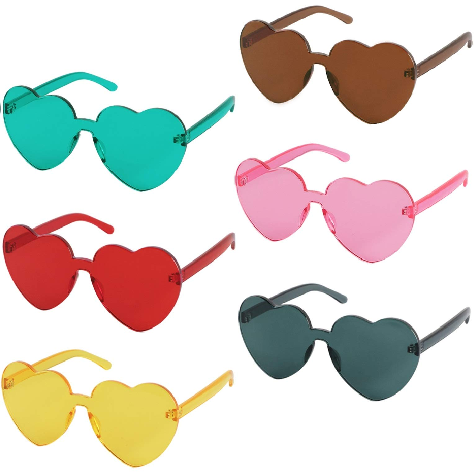 kilofly 6 Rimless One Piece Clear Candy Color Women Heart Shaped Sunglasses