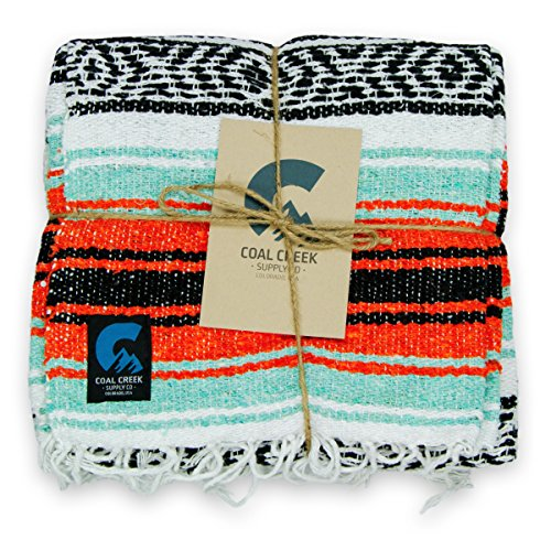 Coal Creek Supply Classic Mexican Blanket, Authentic Falsa Soft Woven Adventure Blanket (Orange and Mint)