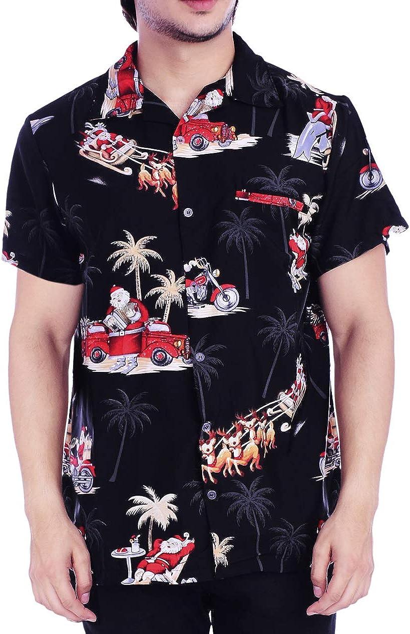 Virgin Crafts Hawaiian Christmas Party Shirt for Mens Dolphin Santa Claus