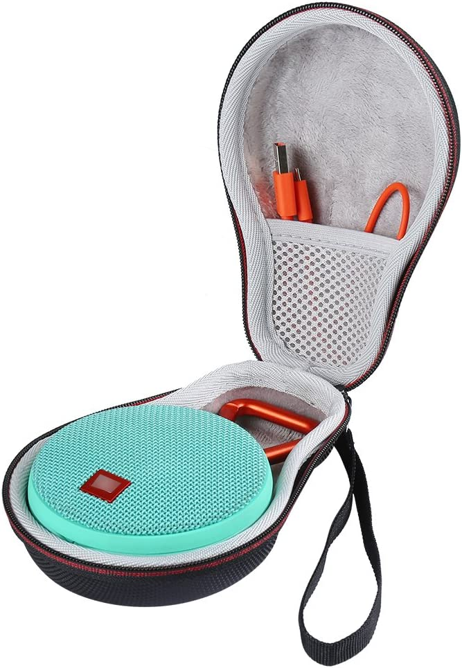 LuckyNV Carry Travel Protective Case For JBL Clip 2 Clip 3 Bluetooth Speaker Extra Space For Plug /& Cables Black