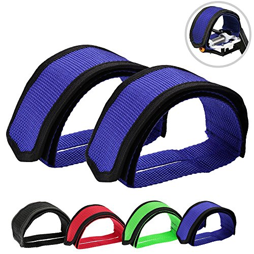 Outgeek 1 Pair Bike Pedal Straps Pedal Toe Clips Straps Tape for Fixed Gear Bike (Blue) (Bmx Gear Fixed)