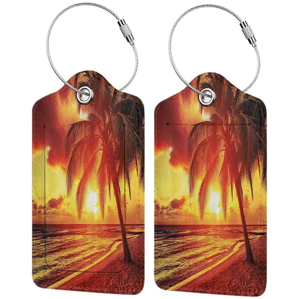 Soft luggage tag Beach Sunset at the Calm Beach with Palms Exotic Caribbean Island Barbados Scenic View Bendable Yellow Orange W2.7 x L4.6
