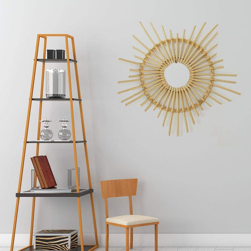 NAKELUCY Support de Cadre de Miroir de Style Nordique Art Decor Cadre en Forme d/étoile Home Photo Wall Tenture Murale en rotin en Osier pour Suspendre Un Miroir Mural