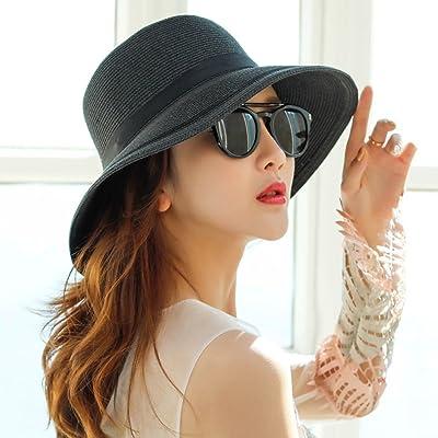 LIANGJUN Aux Femmes Chapeaux De Soleil Large Bord Jugulaire Respirant Anti-UV Été Mode De Plein Air Voyage Bord De Mer, 4 Couleurs ( Couleur : Noir )