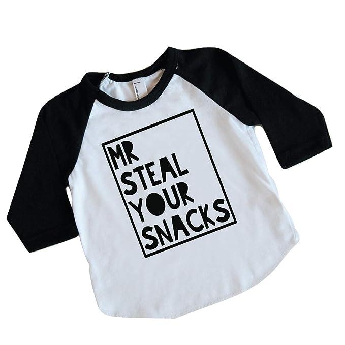 b4116c1830c71 Amazon.com: Funny Toddler Boy Shirt, Mr. Steal Your Snacks (18-24 ...