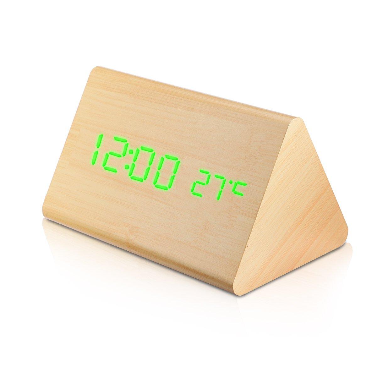 AFAITH Sveglia digitale a LED in legno, visualizza la data dell'orario e la temperatura del triangolo a forma di legno auricolare per bambini, casa, ufficio, vita quotidiana, sospensioni pesanti - Darkwood - SA078B