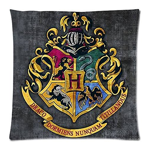 Decorbox Harry Potter Hogwarts School Sign Gryffindor Ravenclaw Hufflepuff Slytherin Custom Pillowcase Pillow Sham Throw Pillow Cushion Case Cover Two Sides Printed 18x18 Inches