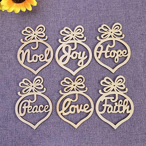 (Tinksky 6pcs Wooden MDF Faith Noel Tags Christmas Party Decoration Scrapbooking Christmas Ornaments)
