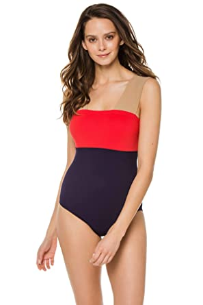 9b1e6f7160 Karla Colletto Women's Color Block Over The Shoulder One Piece Swimsuit  Swimsuit at Amazon Women's Clothing store: