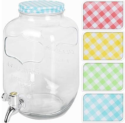 Dispensador de bebidas de cristal transparente con tapa de color 4L, varios colores