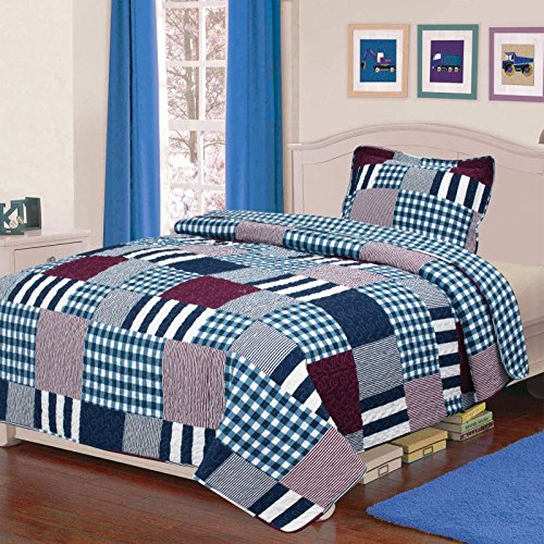 Elegant Home Multicolor Patchwork Plaid Blue White Brown 2 Piece Coverlet Bedspread Quilt for Kids Teens Boys Twin Size # K18-04