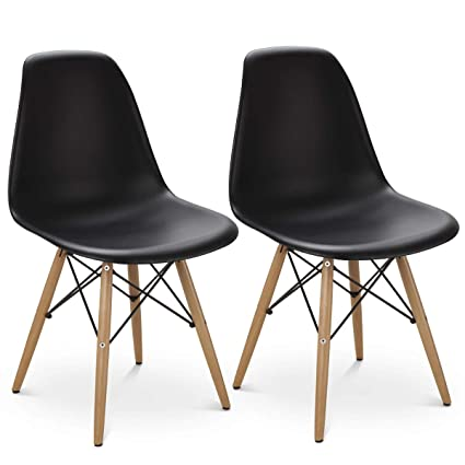 Giantex Set Of 2 Dining Chair Armless Mid Century Modern Style Plastic Seat  Wood Dowel Legs