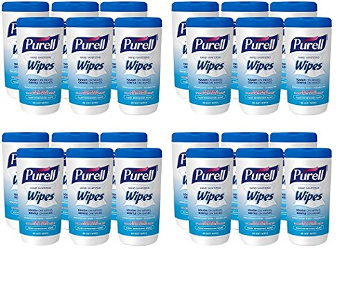 PURELL Hand Sanitizing Wipes - Clean Refreshing Scent, Non-Alcohol Wipes, 40 Count Canisters - 6 pack (Packaging may vary) (4 Case of 6 ()