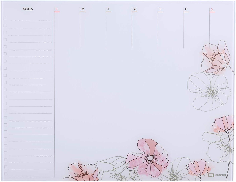 "Quartet Glass Desktop Weekly Planner, 17"" x 22"", Whiteboard, Dry Erase Surface, Floral (GDP2217F)"