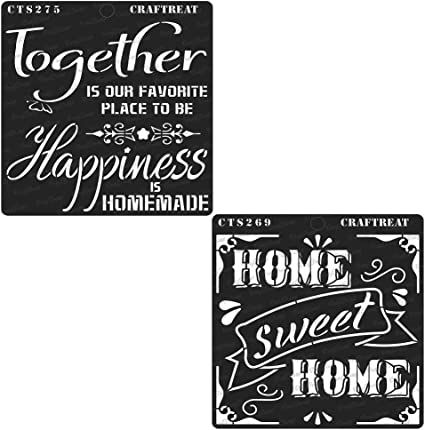 Crafting Home Decor CrafTreat Stencil DIY Albums Scrapbook and Printing on Paper Home Sweet Home and Happy Together Wood 6x6 inches Tile Wall Reusable Painting Template for Journal