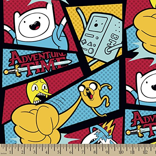 Fleece Adventure - Springs Creative Products Group Cartoon Network Adventure Time Framed with Dots Fleece Fabric by The Yard, Multicolor