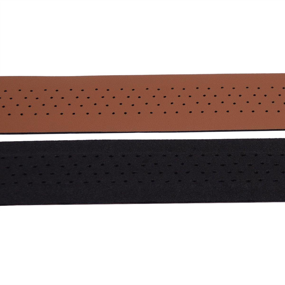 KINGOU Handlebar Tape Luxury PU Leather Bar Tape Fixed Gear//Road Bike Bar Wrap with 2 Reflective Plug
