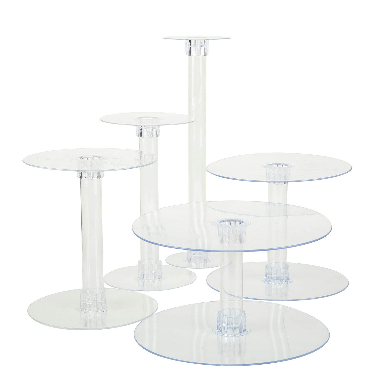 BalsaCircle 5 Tiers Clear Round Crystal Acrylic Cupcake Stand - Tiered Dessert Food Display Serving Tower Birthday Party Wedding