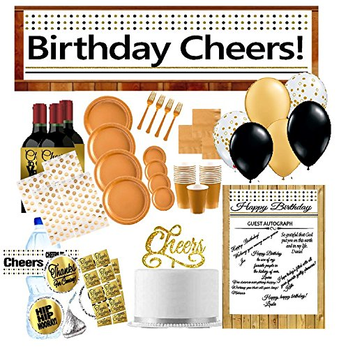 33rd Birthday Party Decoration Kit w. Gold Plates Napkins Cups Banner Water Bottle Labels Balloons Cake Topper Autograph Poster Thanks Stickers & More (33rd Birthday Party Supplies)
