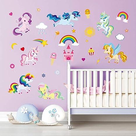 Decalmile Pegatinas De Pared Unicornio Colorido Vinilos Decorativos Arco Iris Niña Castillo Adhesivos Pared Habitación Niña Bebés Niños Dormitorio