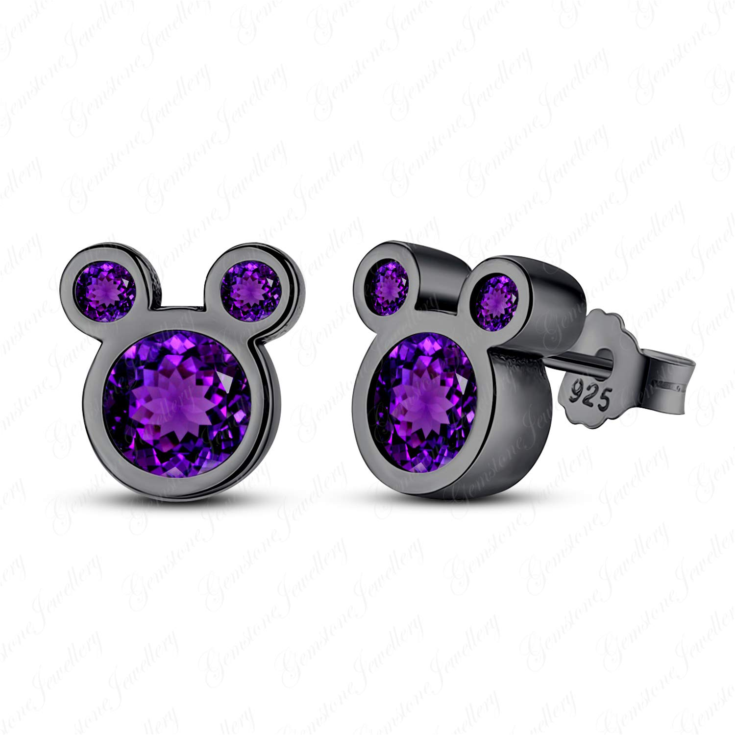 Gemstone Jewellery Micky Mouse Earrings With Purple Amethyst 14k Black Rhodium Finished Pure 925 Silver