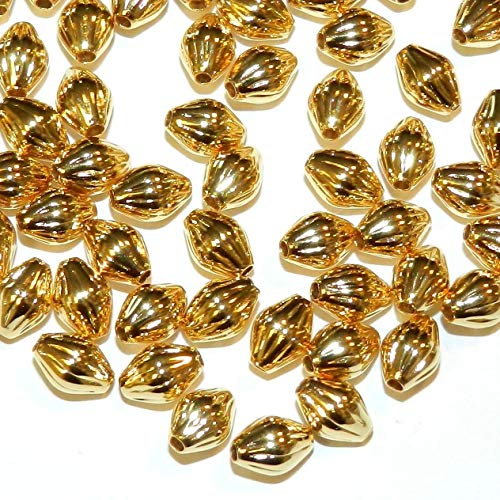 Brass Bicone - Bright Gold 7mm Corrugated Long Bicone Plated Brass Metal Beads 100pc #ID-871