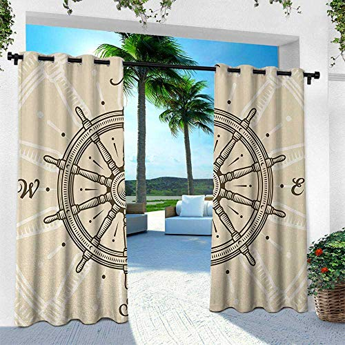 - Hengshu Ships Wheel, for Front Porch Covered Patio Gazebo Dock Beach Home,Retro Ship Wheel Antique Sailboat Navigation Tool Monochromic Nostalgic Print, W84 x L108 Inch, Beige Brown