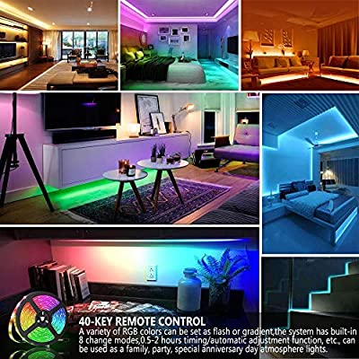Led Strip Light 10m Techvida 32 8ft 10m 300 Leds 16 Colors Rgb Smd 5050 Strip Lights Ip65 Waterproof Music Sync Rope Lighting Kit With 40 Keys Ir Remote Controller And Power Supply For Bar
