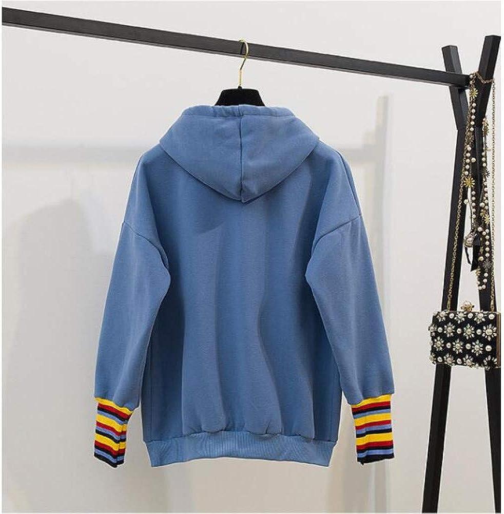 CQAZX Art und Weise beiläufiges mit Kapuze Plus Samt lose Sweatshirt-Buchstabe-Stickerei-buntes gestreiftes Patchwork-Lange Hülsen-Oberseiten Outwear Blue One Size