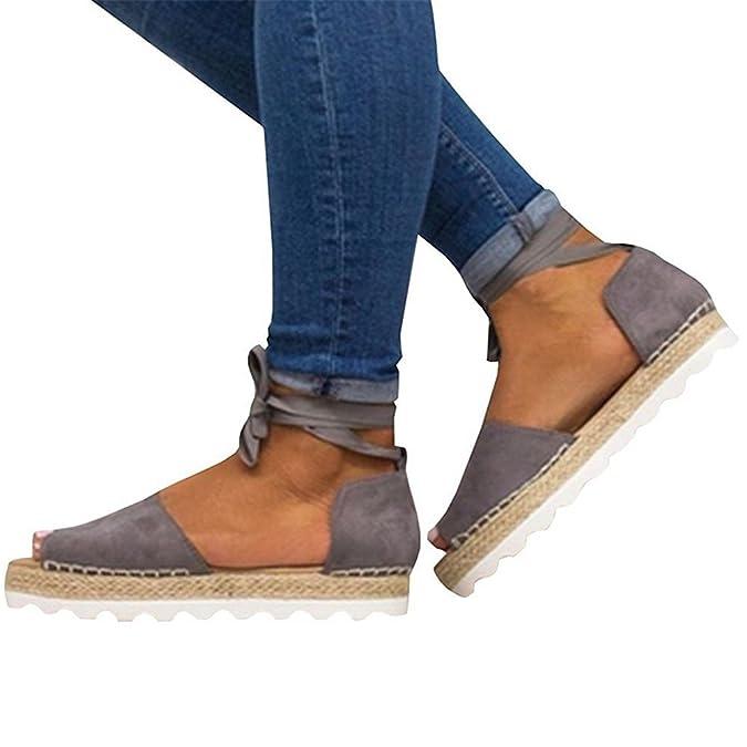 Mujer Sandalias Alpargatas Planas Verano, Plataforma Bohemias Playa Mares Romanas Cuña Gladiador Tacon Zapatos Zapatillas Negro Beige 35-44: Amazon.es: ...