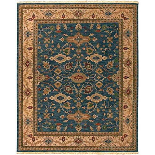 Flemingsburg Handmade Updated Traditional 8' x 10' Rectangle Classic 100% Semi-Worsted New Zealand Wool Dark Green/Camel/Burnt Orange/Rust/Grass Green/Mustard Area Rug