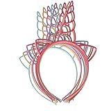 Ouken Paquete de 12 vendas plásticas del unicornio para las muchachas adolescentes niños pequeños diadema del partido (color brillante)