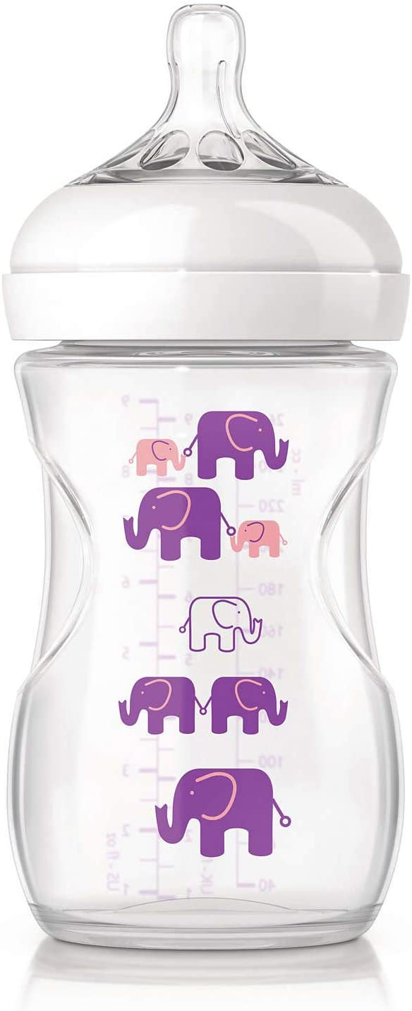 زجاجة الرضاعة الطبيعية فيليبس افينت المزخرفة سعة 260 مل – لون بنفسجي (SCF628/17)