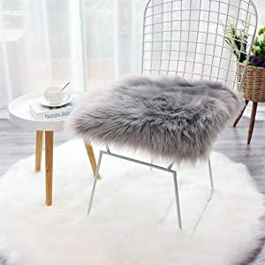 Terrug Shag Faux Fur Sheepskin Area Rugs for Bedroom Carpet Mats SofaFluffy Chair Cover Seat 1.6ft x 1.6ft,Grey