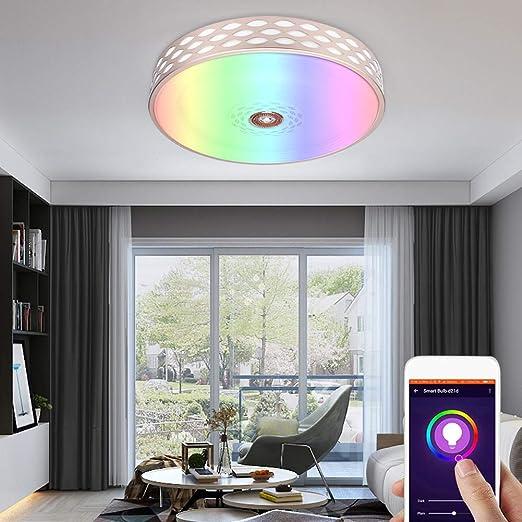 cscd Luces De Techo, Lampara De Techo Led RGB Regulable Luz De ...