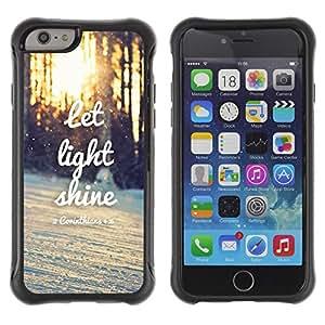 Híbridos estuche rígido plástico de protección con soporte para el Apple iPhone 6 (4.7) - light shine sunset quote winter sun