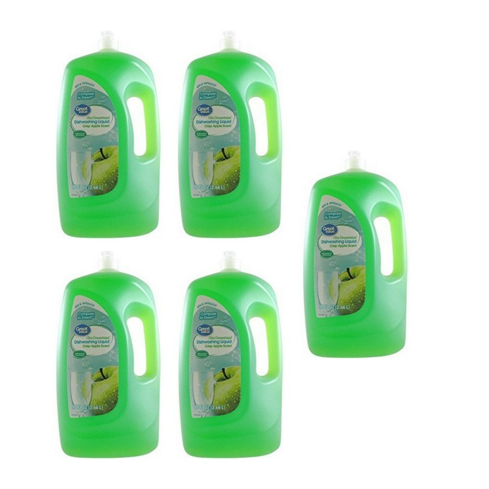 Great Value Ultra Concentrated Dishwashing Liquid, Crisp Apple Scent, 90 oz (5 pack)