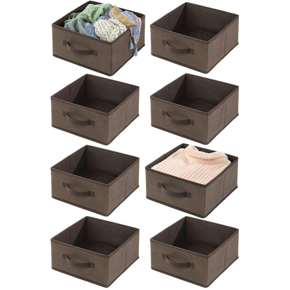 mDesign Soft Fabric Modular Closet Organizer Boxes with Front Pull Handles for Closet, Bedroom, Bathroom, Home Office, Shelves to Hold Clothing, Bedding, Accessories, 8 Pack - Espresso Brown