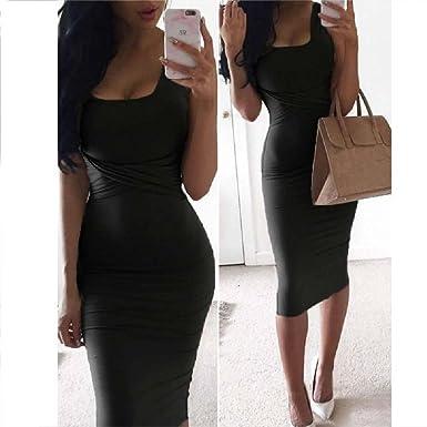 Women Summer Bodycon Dress Scoop Collar Sleeveless Sexy Midi Dresses Club  Party Night Dress Black S 11c7ad2a9