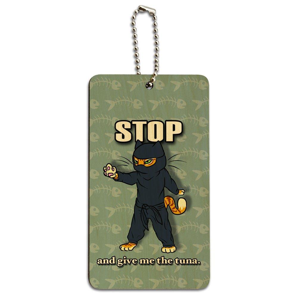 Tarjeta de - gracioso gato Ninja asesino atún pescado madera ...