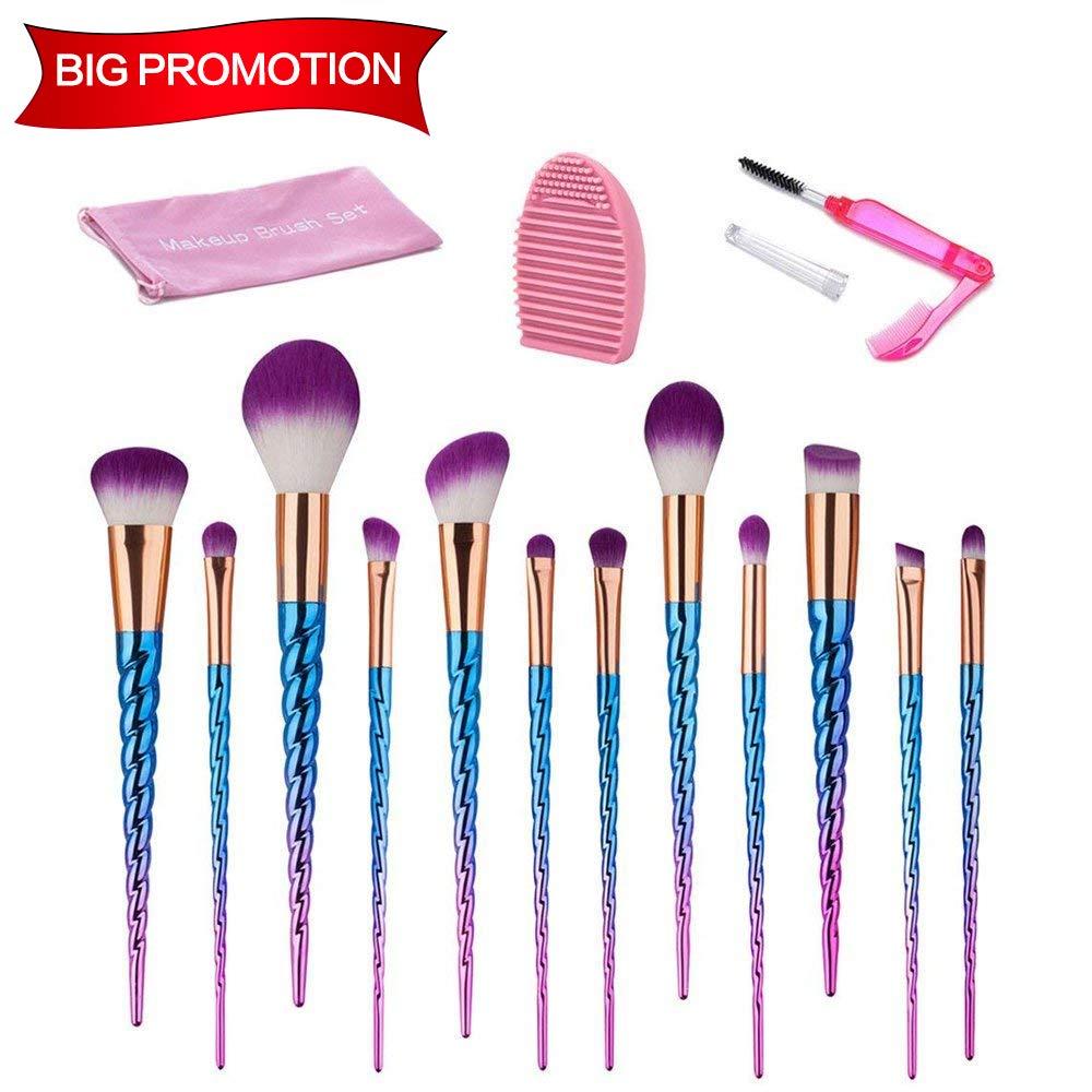Makeup Brush Set, Beauty Star 12PCS Unicorn Makeup Brushes Blue Purple Soft Colorful Bristle Foundation Blending Eyeshadow Blush Cosmetic Brush Set with Washing Board and Lash Brush