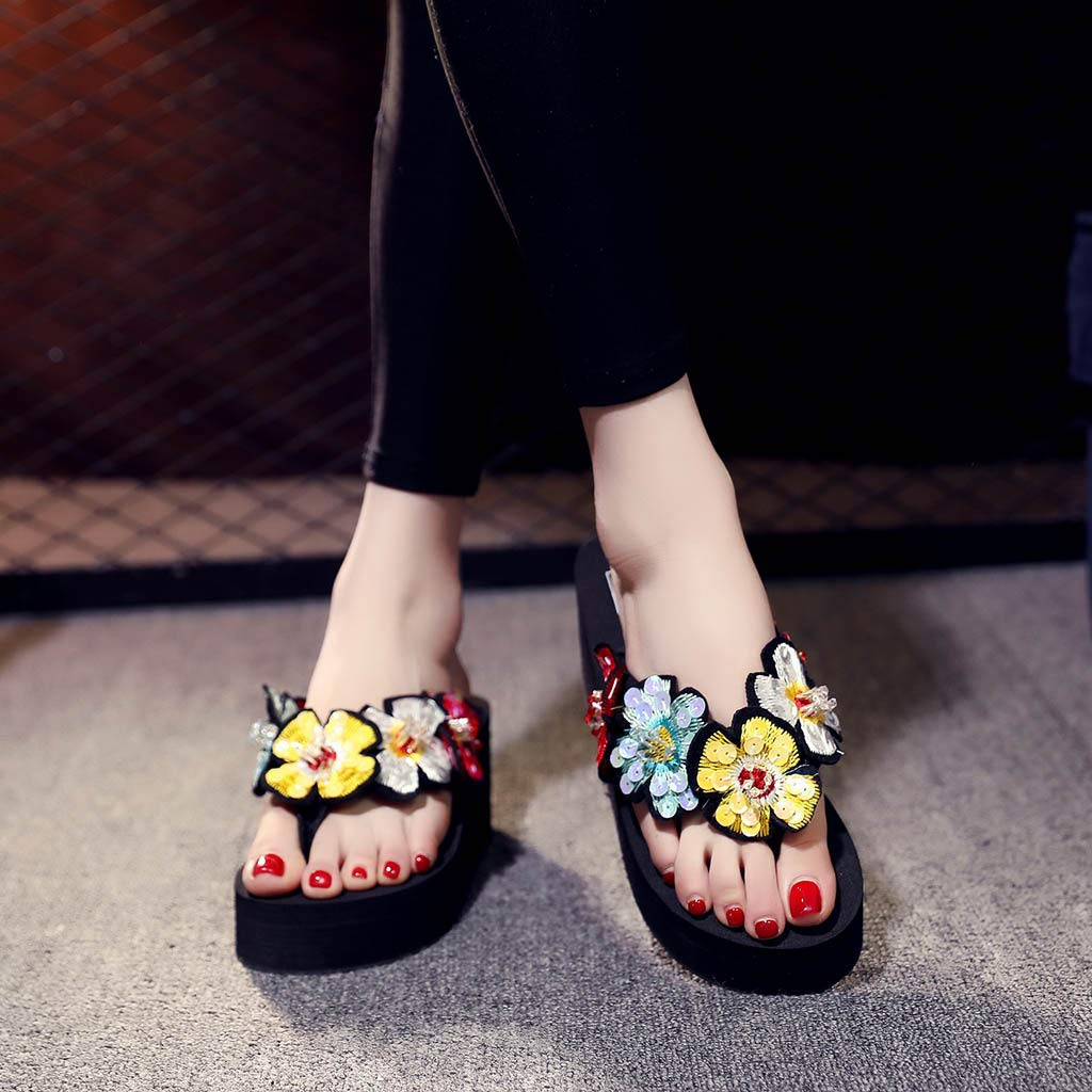 Summer Sandals Slippers,Girls Womens Fashion Bling Wedges Floral Flip Flops Slides Ladies Thongs Beach Shoes