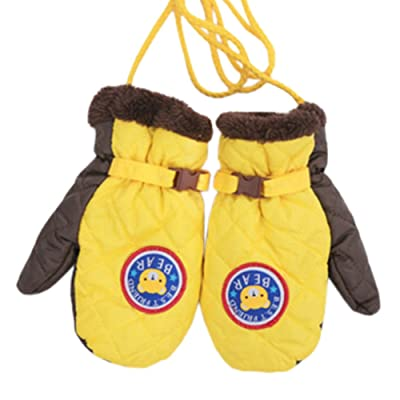 1 Pair Kids' Winter Gloves Warm Mittens Windproof Glove(2-6 Years) Yellow/Brown