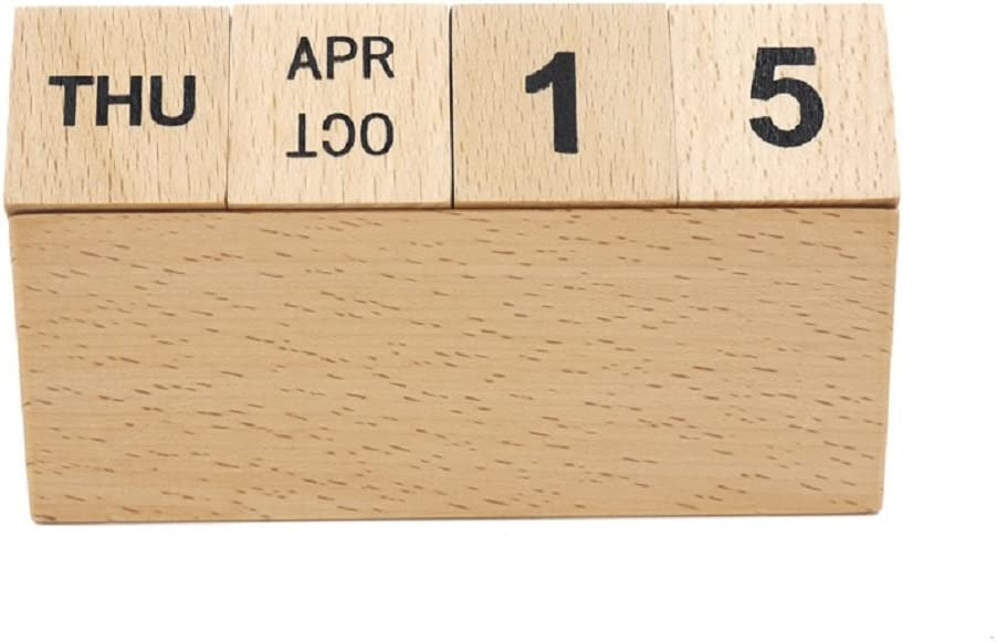 Vosarea Wooden Perpetual Desk Calendar Blocks Vintage Month Date Table Accessory for Home Office Decoration Beige