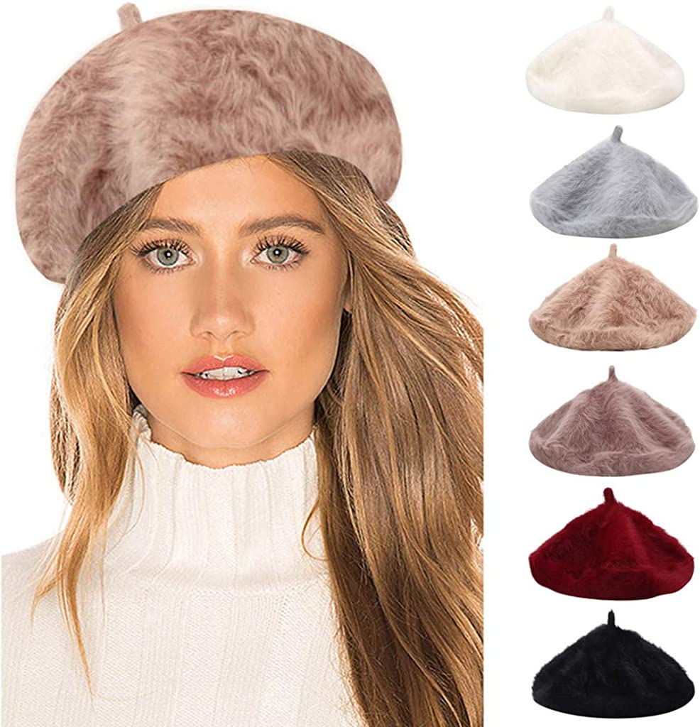 Women Winter Beret Hat Faux Fleece Fluffy Warm Soft Slouchy Chunky Outdoor Beanie Hat Thermal Cap BOIYI French Artist Classic Flat Cap