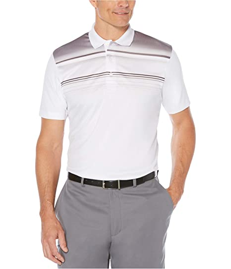 2a68ec29 PGA TOUR Mens Colorblocked Rugby Polo Shirt White S at Amazon Men's ...